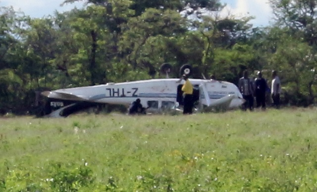 he Cessna aircraft at the crash site in Bubi District yesterday
