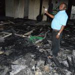 Roman Catholic church up in flames
