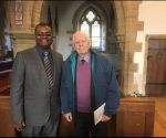 Dr Alex Magaisa with Sir Sydney Kentridge QC at the memorial service for Zimbabwe's first Chief Justice, the late Sir John Fieldsend. (c) Dr Alex Magaisa 2017.