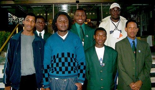 Zimbabwe Men's Olympiad Team: (front row, from left to right), IM Robert Gwaze (Bd. 1), Takaedza Chipanga (Bd. 2), Michael Luberto (Bd. 3) and Charles Chakanyuka (Bd. 4); (in the rear, from left to right), Wisdom Chikwanda (Bd. 5), Rangariral Karumazondo (Bd. 6) and Charles Kuwaza, (captain).