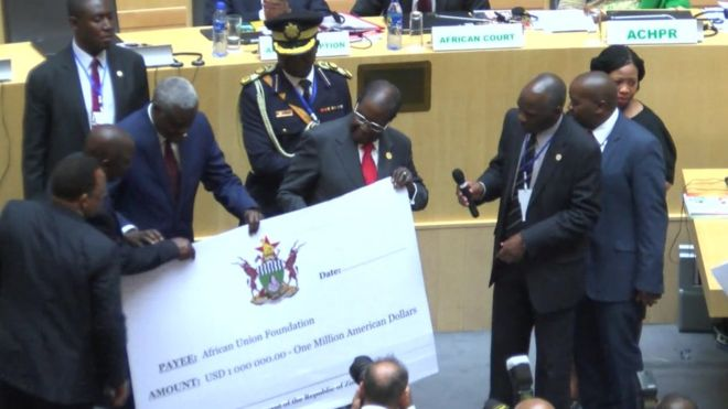 Mugabe  $1 Million  African Union Donation