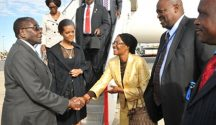 President Mugabe and First Lady Amai Grace Mugabe are welcomed by Mrs Shava, wife to Zimbabwe's Permanent Representative to the UN Ambassador Frederick Shava at JFK International Airport, New York, yesterday. — (Picture by Presidential Photographer Joseph Nyadzayo)