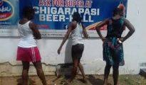 Women mill around the closed Chigarapasi Beerhall in Chiredzi recently