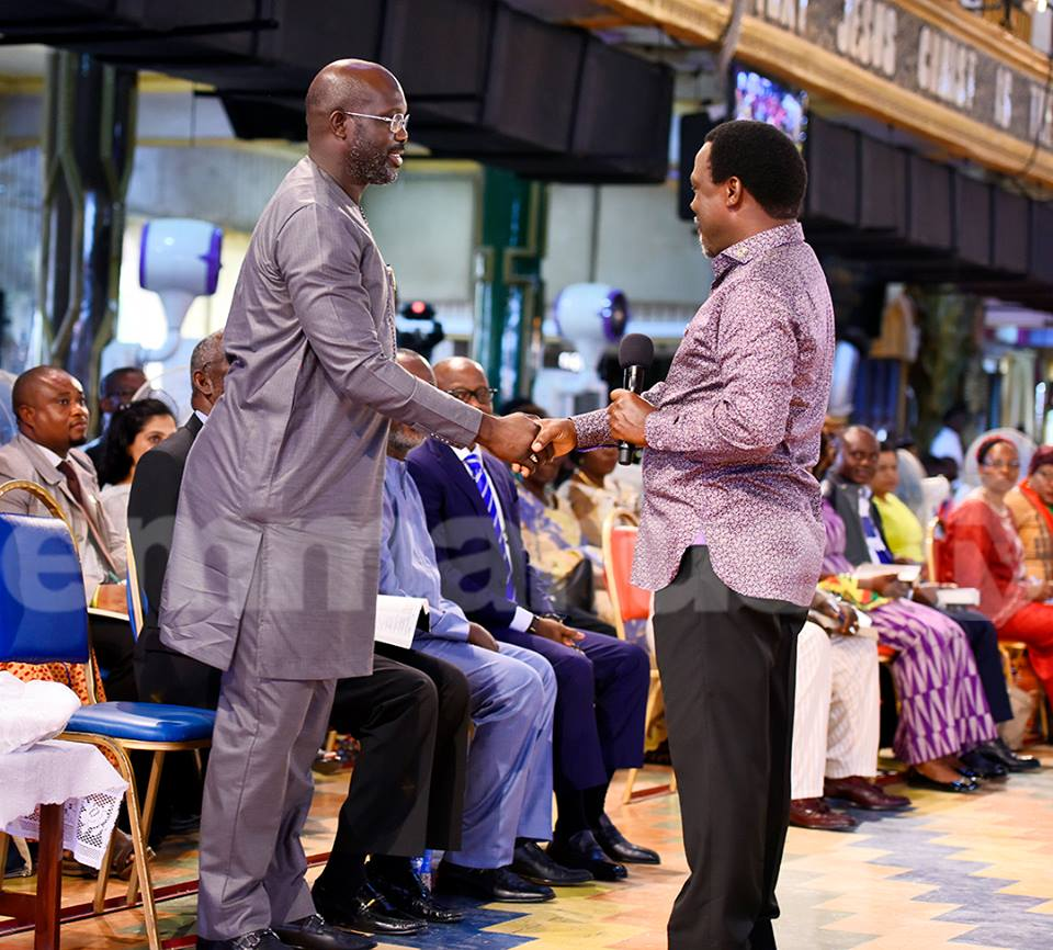 ootball legend George Weah attended a service of The Synagogue Church Of All Nations (SCOAN), led by Pastor T.B. Joshua on Sunday