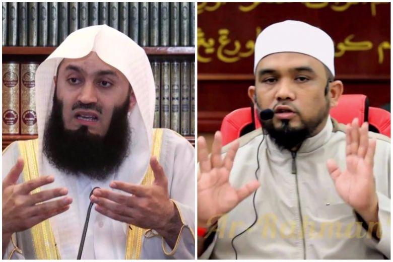 Ismail Menk (left) and Haslin Baharim have been banned from entering Singapore for a religious cruise.PHOTOS: SCREENGRAB FROM YOUTUBE