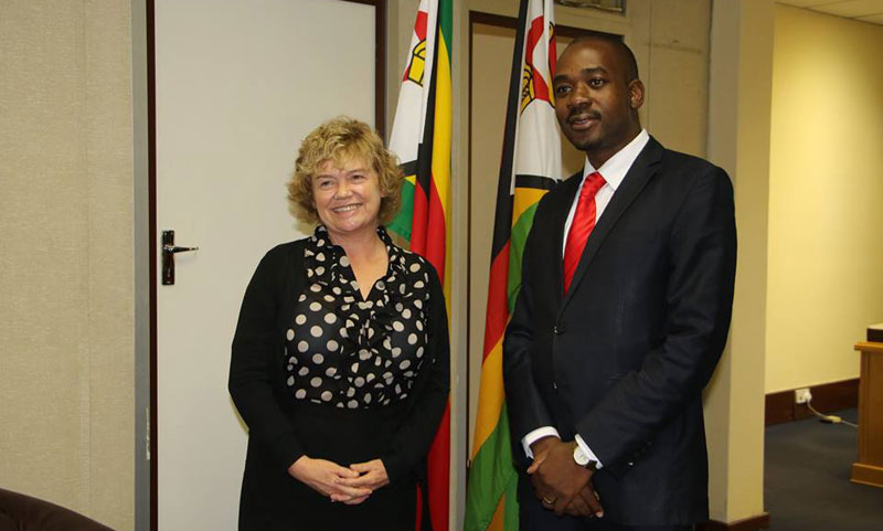 MDC-T president Nelson Chamisa has met with British Ambassador British Ambassador to Zimbabwe, Excellency Catriona Laing