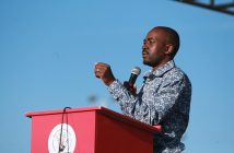 Nelson Chamisa speaking at White City Stadium (Picture Lucky Tshuma)