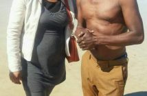 SHE'S JUST A FAN! . . . Macheso on beach picture