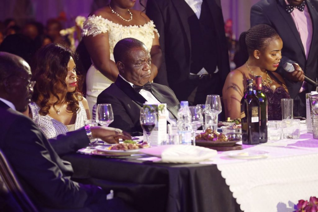 Critical condition ... Vice President Chiwenga and his wife seen during the Miss World Zimbabwe pageant in September
