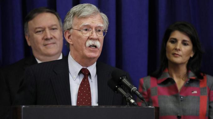 US Secretary of State Mike Pompeo, US National Security Advisor John Bolton and US Ambassador