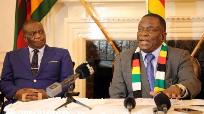 President Emmerson Mnangagwa and his deputy Dr Constantino Chiwenga during a press conference at State House last night. Picture by John Manzongo