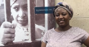 Freedom ... Harare West MP Joana Mamombe posing next to a picture of South African apartheid icon Winnie Madikizela Mandela in prison