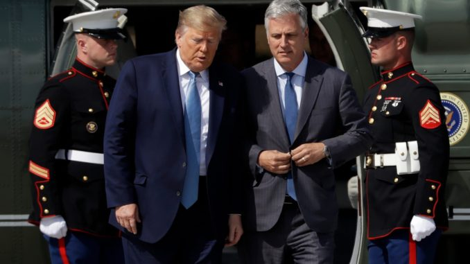 US President Donald Trump and his National Security Advisor Robert O'Brien