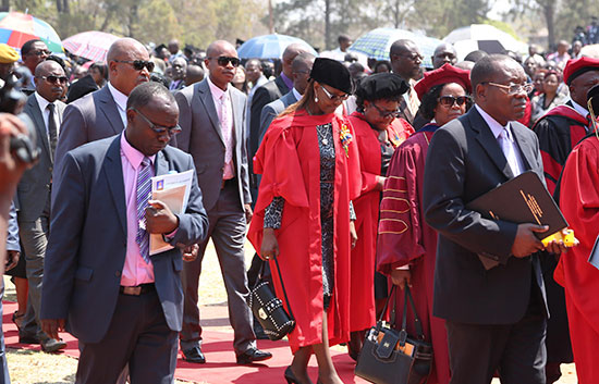 Dr Grace Mugabe ... The First Lady at her graduation ceremony Friday with VP Mujuru