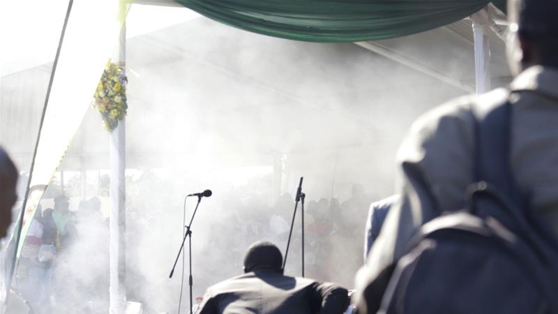 Smoke rises after an explosion at a ZANU-PF rally in Bulawayo [The Associated Press]