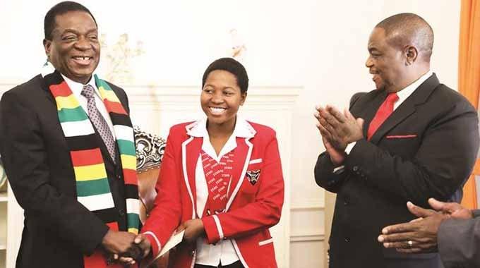 President Mnangagwa yesterday honoured Primrose Thandeka Tshuma of John Tallach High School