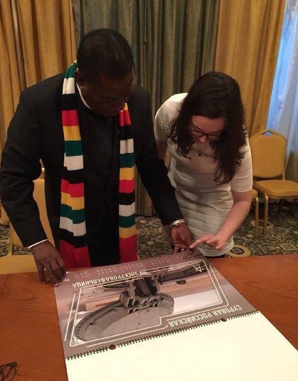President ED Mnangagwa being presented with the Russian Ministry of Defence Calendar