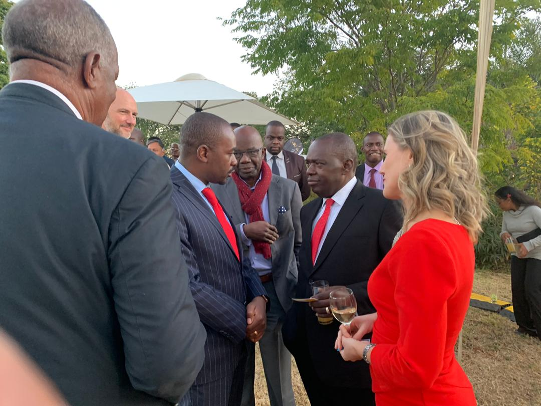 Awkward moment ... The moment Chamisa and SB Moyo had a terse exchange in front of the UK ambassador to Zimbabwe Melanie Robinson