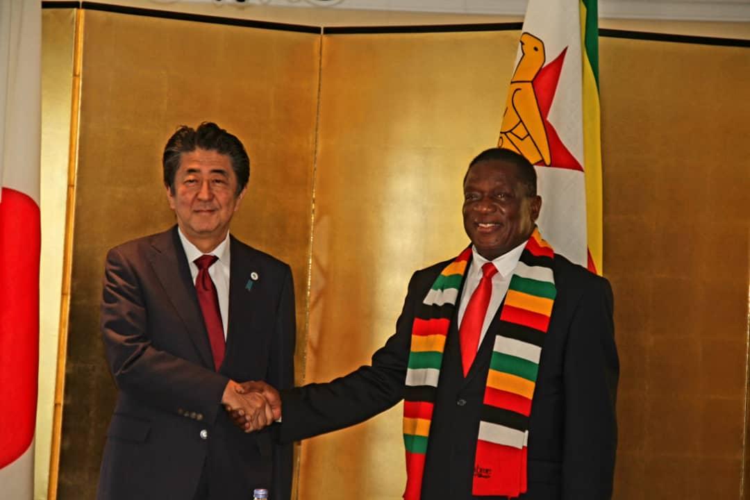 Japanese Prime Minister Abe meeting Zimbabwe's President Emmerson Mnangagwa
