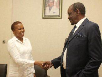 Vice President of Zimbabwe Kembo Mohadi, received Ambassador of Cuba Carmelina Ramirez.